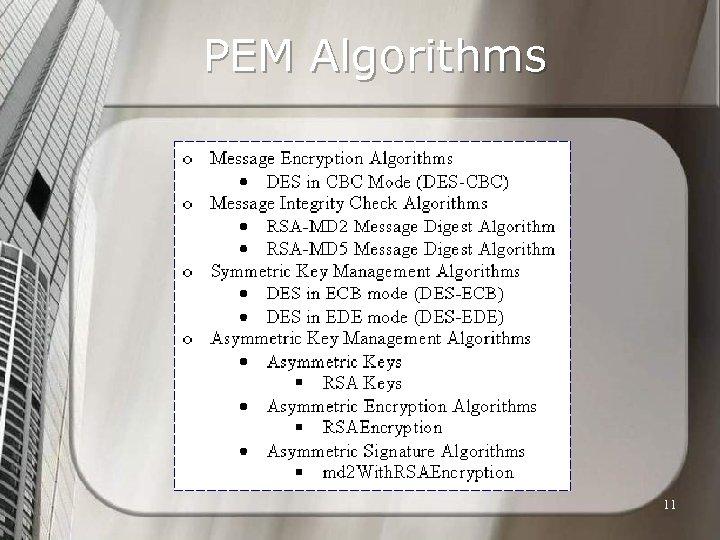 PEM Algorithms 11