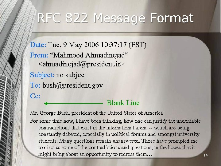 RFC 822 Message Format Date: Tue, 9 May 2006 10: 37: 17 (EST) From: