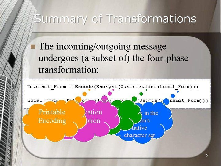 Summary of Transformations n The incoming/outgoing message undergoes (a subset of) the four-phase transformation: