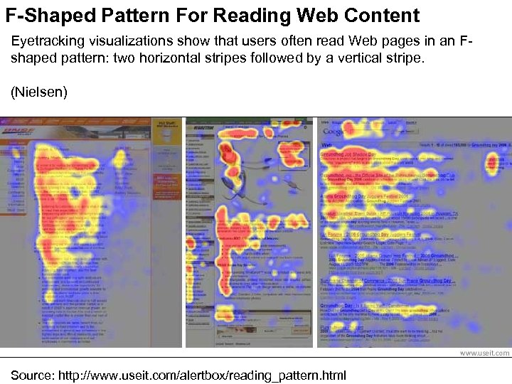 F-Shaped Pattern For Reading Web Content Eyetracking visualizations show that users often read Web