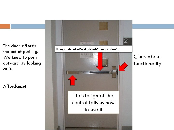 The door affords the act of pushing. We know to push outward by looking