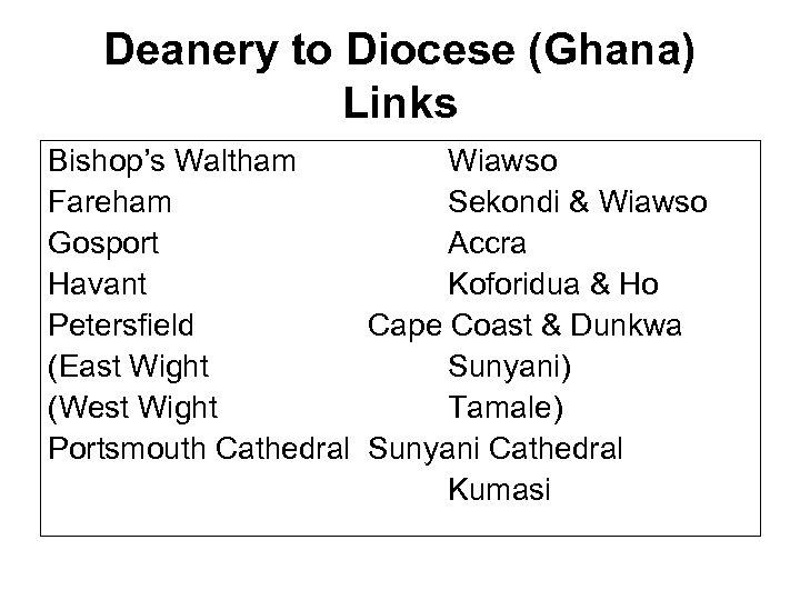 Deanery to Diocese (Ghana) Links Bishop's Waltham Wiawso Fareham Sekondi & Wiawso Gosport Accra