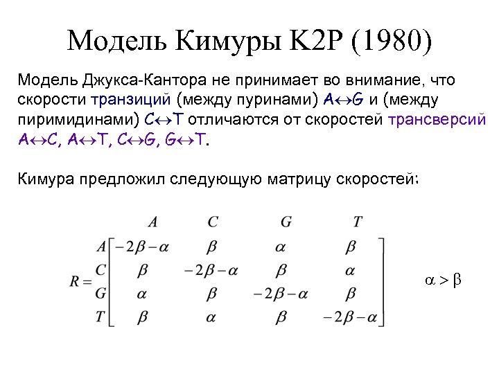 Модель Кимуры K 2 P (1980) Модель Джукса-Кантора не принимает во внимание, что скорости