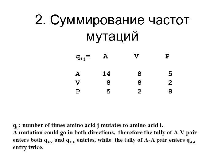 2. Cуммирование частот мутаций