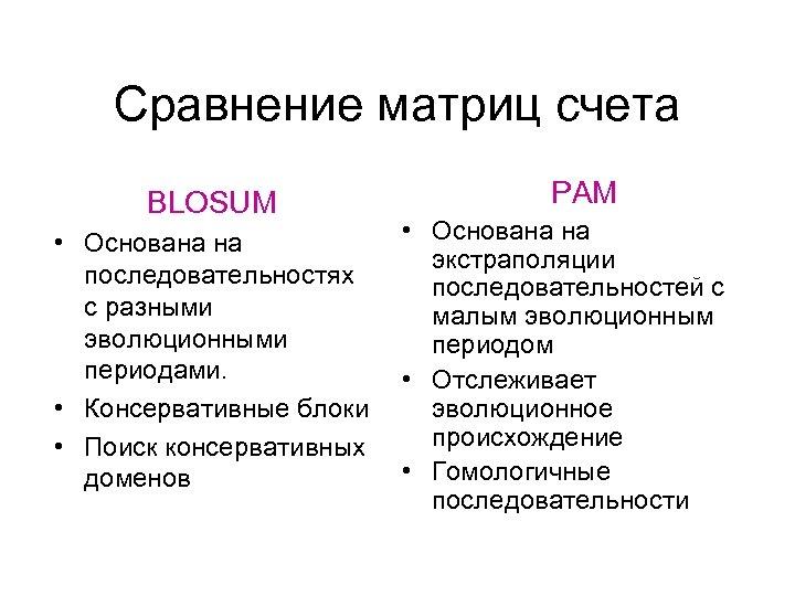 Сравнение матриц счета BLOSUM • Основана на последовательностях с разными эволюционными периодами. • Консервативные