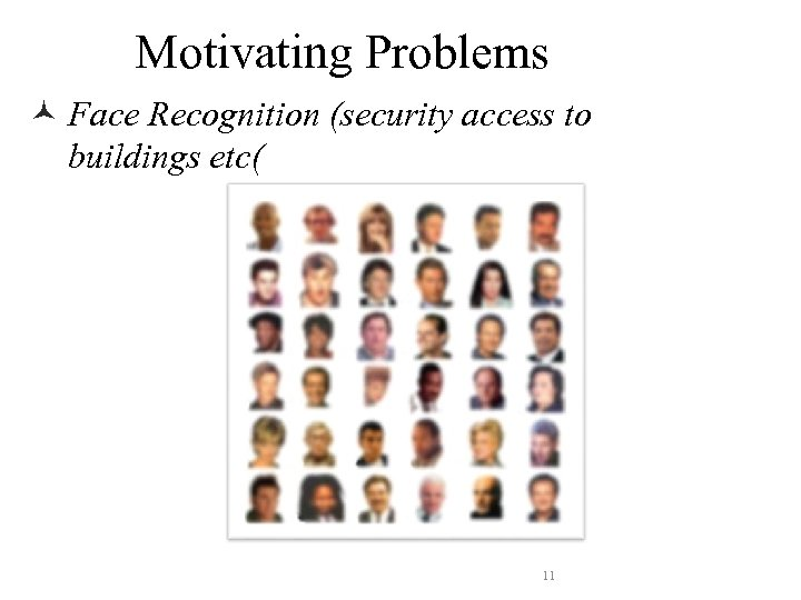 Motivating Problems © Face Recognition (security access to buildings etc( 11