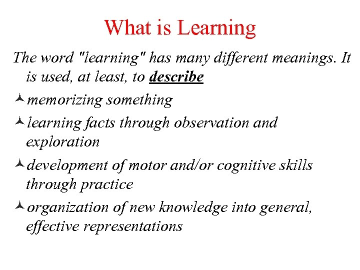 What is Learning The word