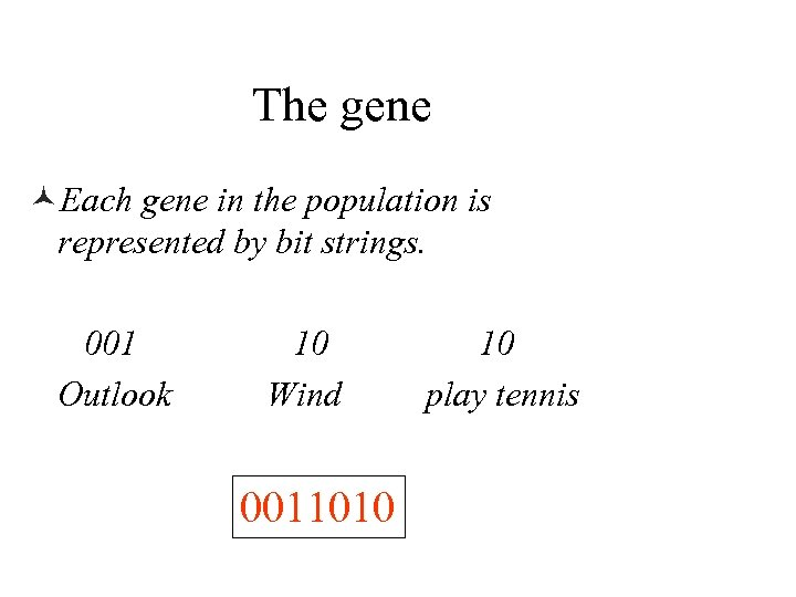 The gene ©Each gene in the population is represented by bit strings. 001 Outlook