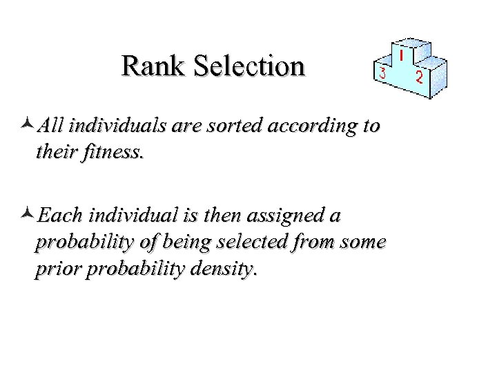 Rank Selection ©All individuals are sorted according to their fitness. ©Each individual is then