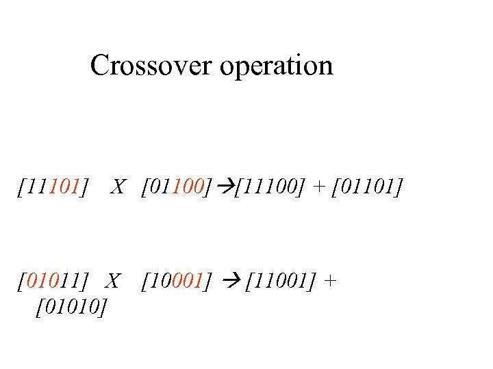 Crossover operation [11101] X [01100] [11100] + [01101] [01011] X [01010] [10001] [11001] +