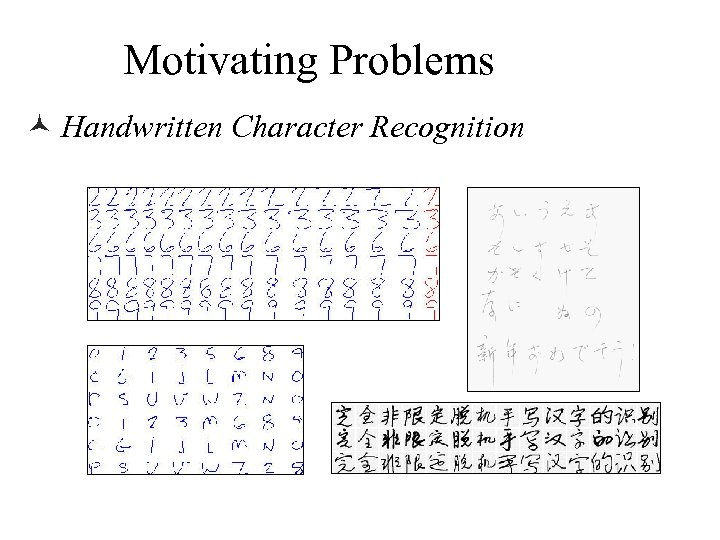 Motivating Problems © Handwritten Character Recognition