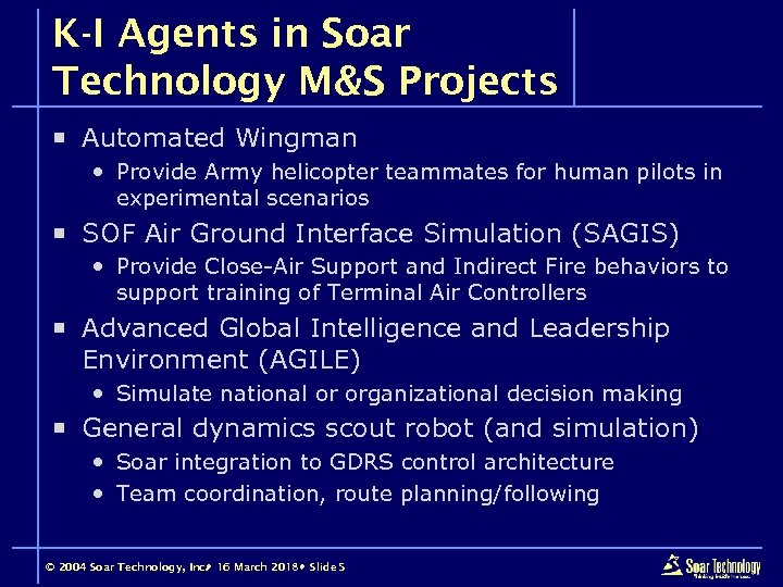 K-I Agents in Soar Technology M&S Projects ¡ Automated Wingman Provide Army helicopter teammates