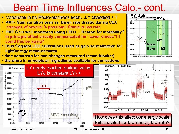 Beam Time Influences Calo. - cont. • Variations in no Photo-electrons seen…LY changing +
