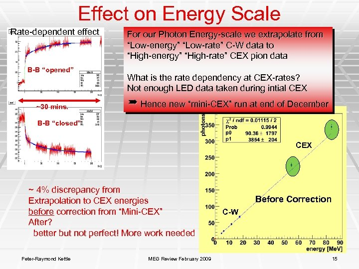 """Effect on Energy Scale Rate-dependent effect B-B """"opened"""" ~30 mins. For our Photon Energy-scale"""
