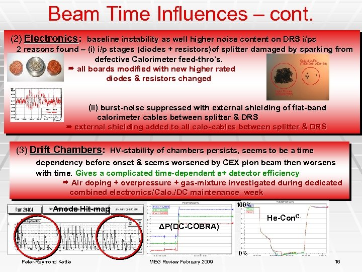Beam Time Influences – cont. (2) Electronics: baseline instability as well higher noise content