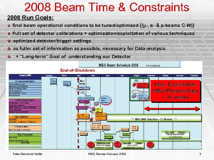 2008 Beam Time & Constraints 2008 Run Goals: final beam operational conditions to be