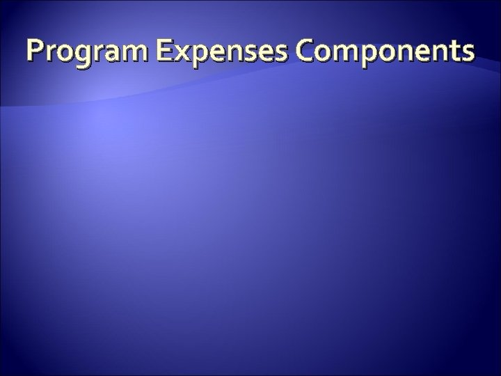 Program Expenses Components
