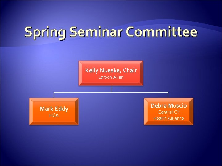 Spring Seminar Committee Kelly Nueske, Chair Larson Allen Mark Eddy HCA Debra Muscio Central