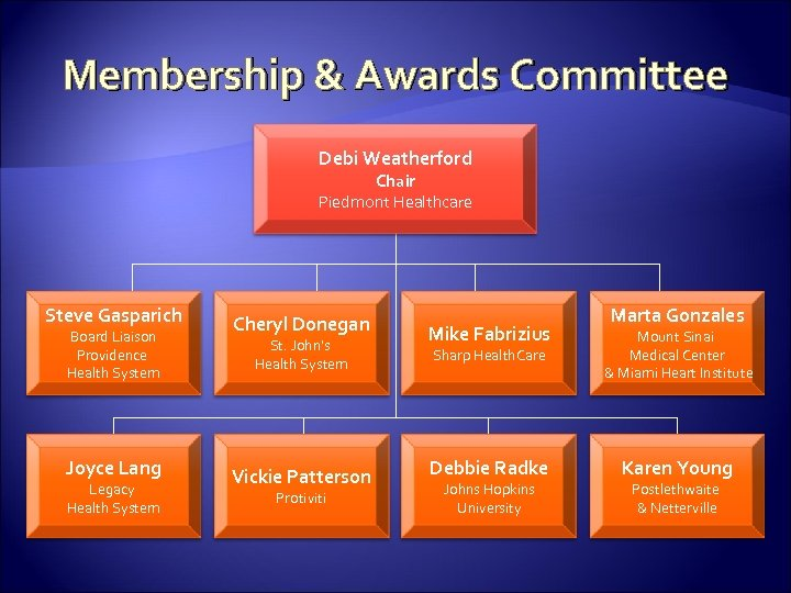 Membership & Awards Committee Debi Weatherford Chair Piedmont Healthcare Steve Gasparich Board Liaison Providence