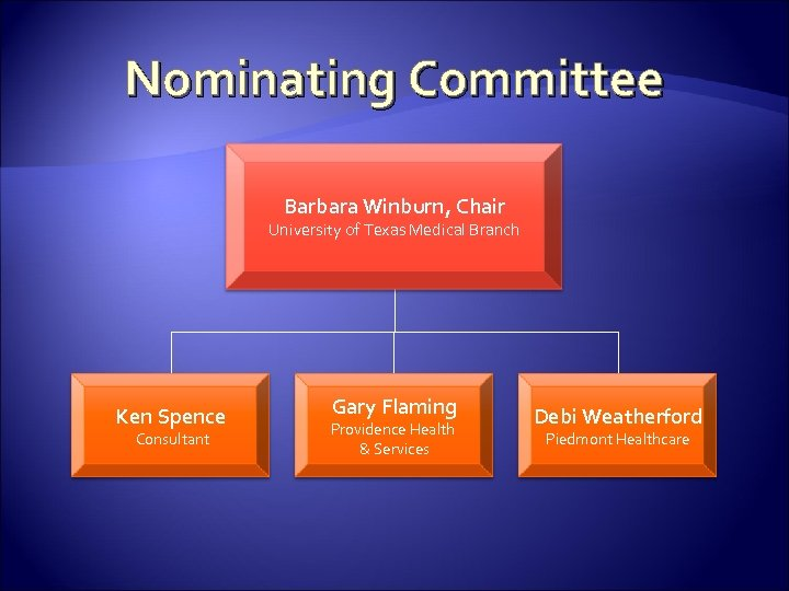 Nominating Committee Barbara Winburn, Chair University of Texas Medical Branch Ken Spence Consultant Gary