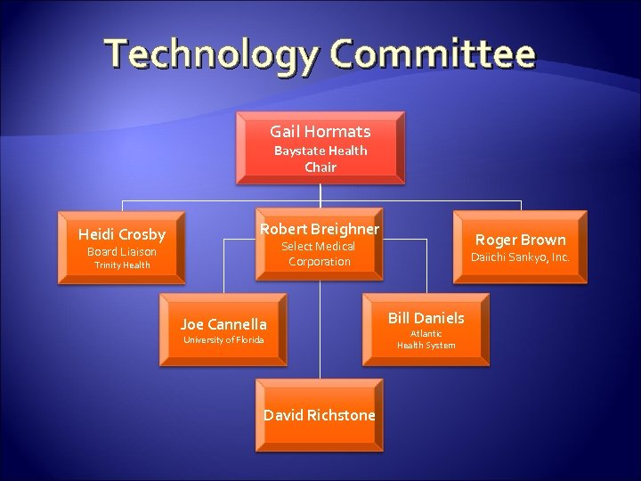 Technology Committee Gail Hormats Baystate Health Chair Heidi Crosby Robert Breighner Roger Brown Select