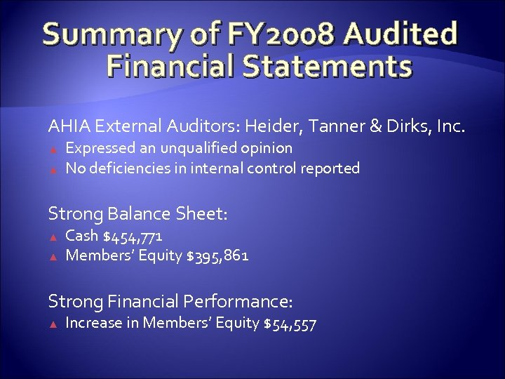Summary of FY 2008 Audited Financial Statements AHIA External Auditors: Heider, Tanner & Dirks,