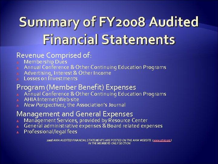 Summary of FY 2008 Audited Financial Statements Revenue Comprised of: ▲ ▲ Membership Dues
