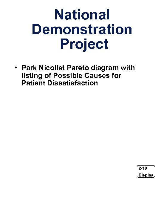 National Demonstration Project • Park Nicollet Pareto diagram with listing of Possible Causes for