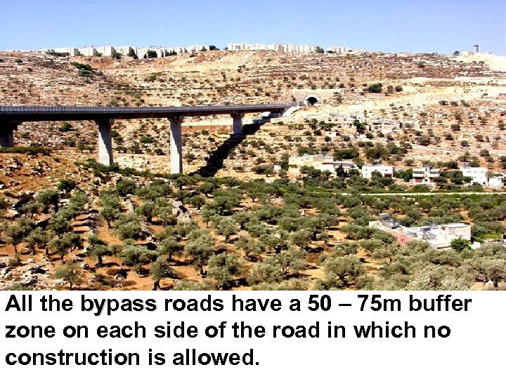 All the bypass roads have a 50 – 75 m buffer zone on each