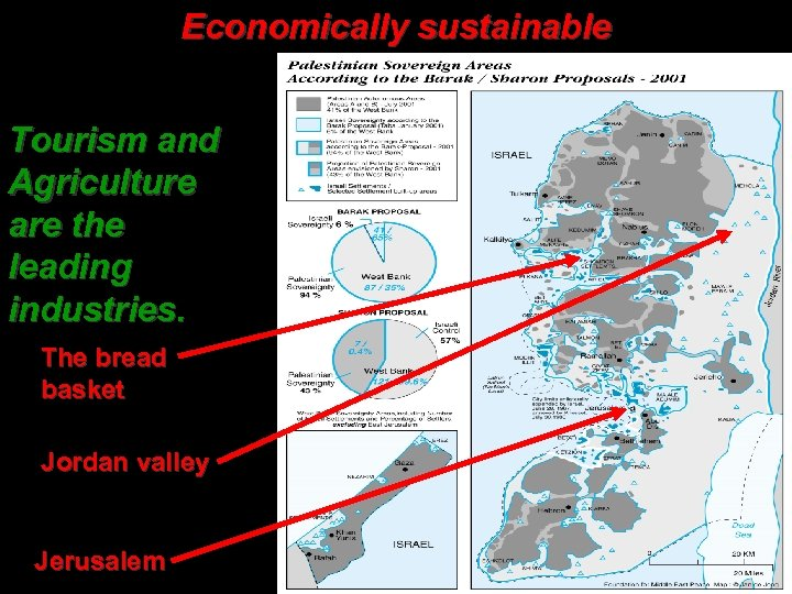 Economically sustainable Tourism and Agriculture are the leading industries. The bread basket Jordan valley