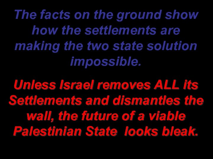 The facts on the ground show the settlements are making the two state solution