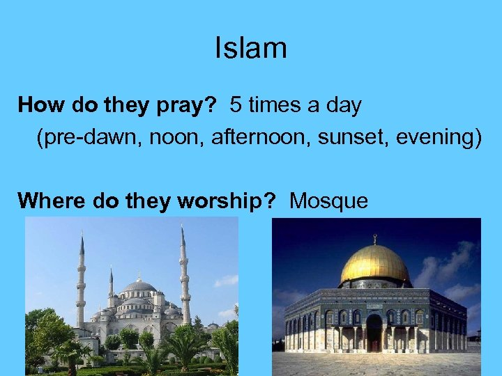 Islam How do they pray? 5 times a day (pre-dawn, noon, afternoon, sunset, evening)