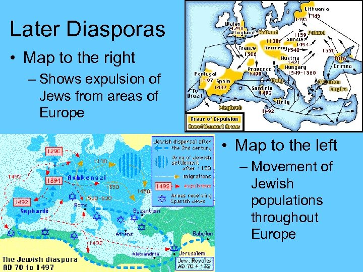 Later Diasporas • Map to the right – Shows expulsion of Jews from areas