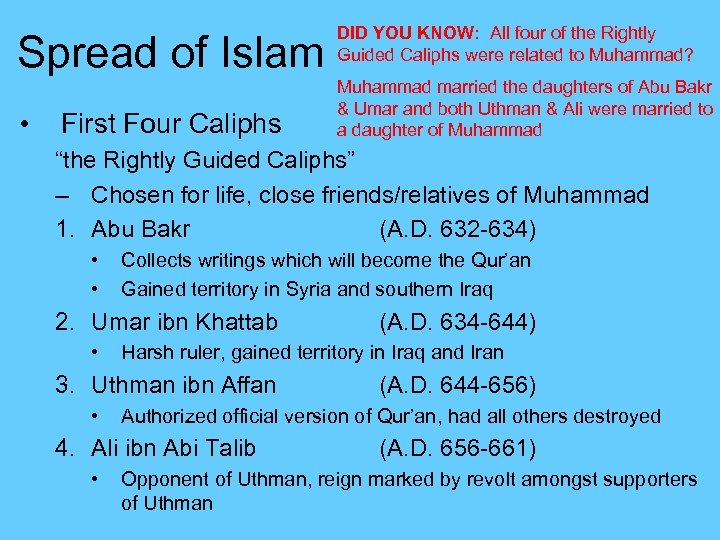 Spread of Islam • First Four Caliphs DID YOU KNOW: All four of the