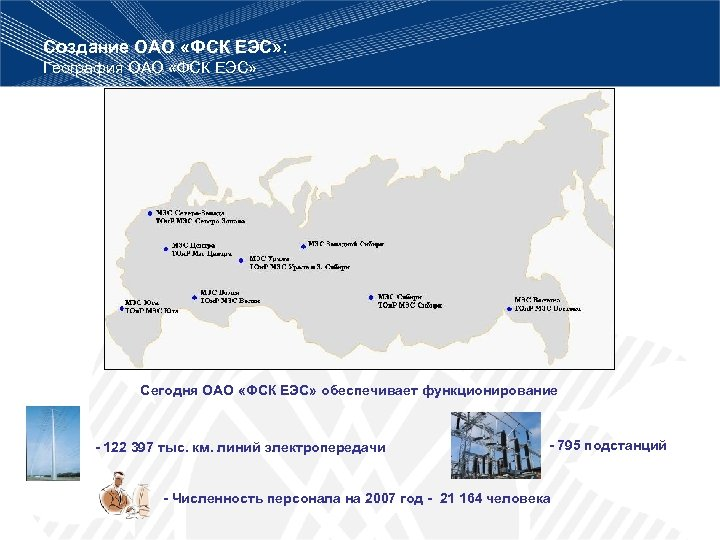 Создание ОАО «ФСК ЕЭС» : География ОАО «ФСК ЕЭС» Сегодня ОАО «ФСК ЕЭС» обеспечивает