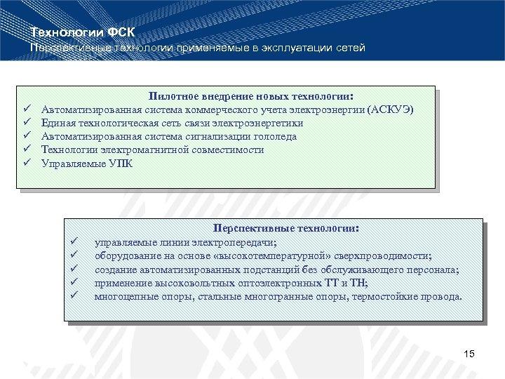 Технологии ФСК Перспективные технологии применяемые в эксплуатации сетей ü ü ü Пилотное внедрение новых