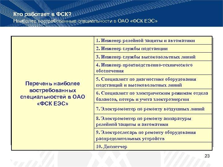 Кто работает в ФСК? Наиболее востребованные специальности в ОАО «ФСК ЕЭС» 1. Инженер релейной