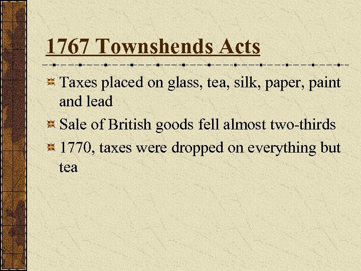 1767 Townshends Acts Taxes placed on glass, tea, silk, paper, paint and lead Sale