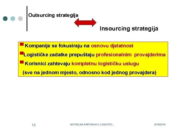 Outsurcing strategija Insourcing strategija ▀ Kompanije se fokusiraju na osnovu djelatnost ▀Logističke zadatke prepuštaju