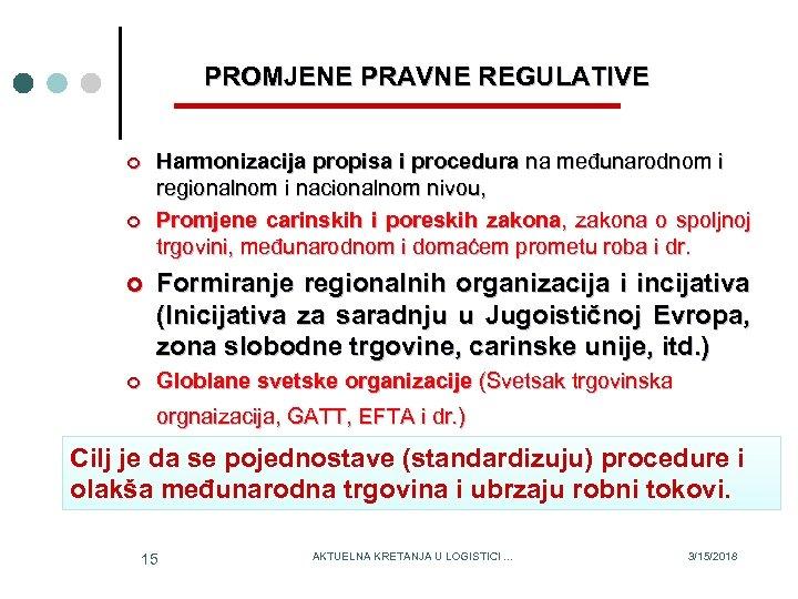 PROMJENE PRAVNE REGULATIVE ¢ ¢ Harmonizacija propisa i procedura na međunarodnom i regionalnom i