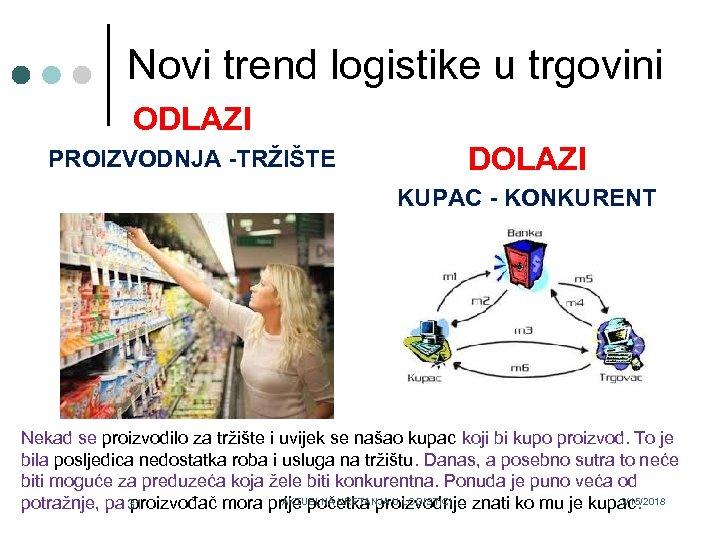 Novi trend logistike u trgovini ODLAZI PROIZVODNJA -TRŽIŠTE DOLAZI KUPAC - KONKURENT Nekad se