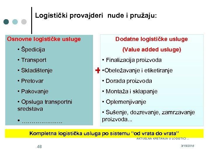 Logistički provajderi nude i pružaju: Dodatne logističke usluge Osnovne logističke usluge • Špedicija (Value