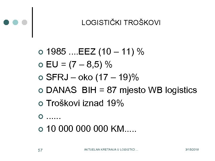 LOGISTIČKI TROŠKOVI 1985. . EEZ (10 – 11) % ¢ EU = (7 –