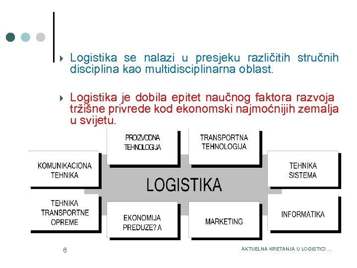3/15/2018 Logistika se nalazi u presjeku različitih stručnih disciplina kao multidisciplinarna oblast. Logistika je