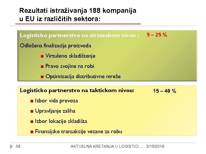 Rezultati istraživanja 188 kompanija u EU iz različitih sektora: Logističko partnerstvo na strateškom nivou