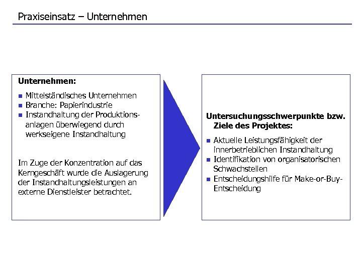 Praxiseinsatz – Unternehmen: n n n Mittelständisches Unternehmen Branche: Papierindustrie Instandhaltung der Produktionsanlagen überwiegend