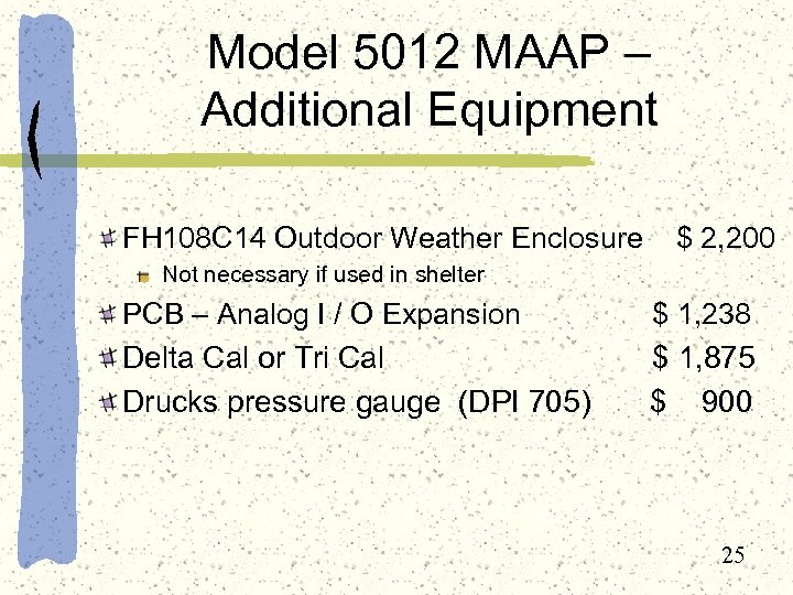 Model 5012 MAAP – Additional Equipment FH 108 C 14 Outdoor Weather Enclosure $