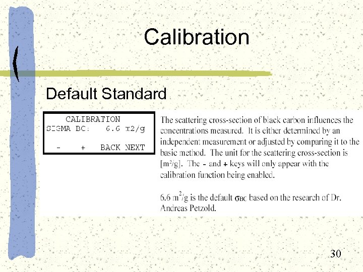 Calibration Default Standard 30