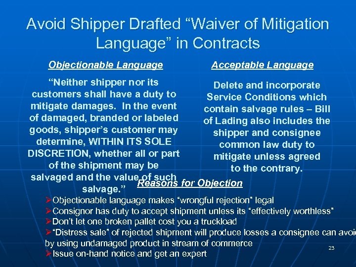"Avoid Shipper Drafted ""Waiver of Mitigation Language"" in Contracts Objectionable Language Acceptable Language ""Neither"