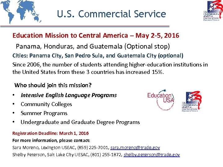 U. S. Commercial Service Education Mission to Central America – May 2 -5, 2016